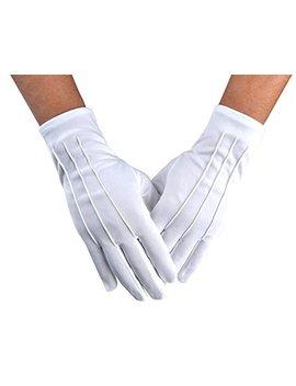 Jisen Men Police Formal Tuxedo Honor Guard Parade Nylon Cotton Gloves 26cm by Jisen