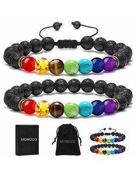 monozo-bead-chakra-bracelet---7-chakras-8mm-lava-rock-stone-anxiety-bracelet-essential-oil-diffuser-stone-yoga-beads-bracelets-meditation-relax-healing-aromatherapy-bangle-for-men-wonmen-kids by monozo