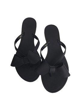 Womens Bowtie Flip Flops Jelly Thong Sandal Rubber Flat Summer Beach Rain Shoes Black by Tengyu