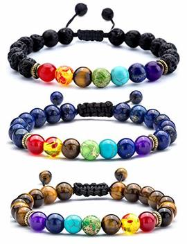 Hamoery Men Women 8mm Lava Rock 7 Chakras Aromatherapy Essential Oil Diffuser Bracelet Braided Rope Natural Stone Yoga Beads Bracelet Bangle 21004 by Hamoery