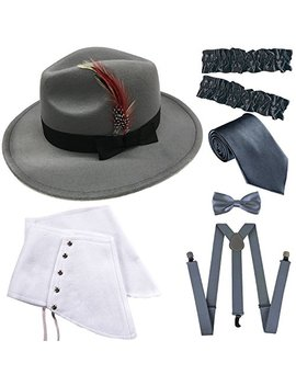 1920s Trilby Manhattan Fedora Hat, Gangster Spats/Armbands,Suspenders Y Back Trouser Braces,Pre Tied Bow Tie,Tie by Zero Shop