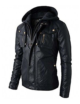Real Skin New Men's Motorcycle Brando Style Biker Real Leather Hoodie Jacket   Detach Hood Black by Real Skin