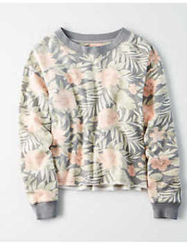 Ae Ahhmazingly Soft Tropical Print Sweatshirt by American Eagle Outfitters