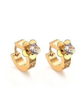 vnox-womens-girls-stainless-steel-cz-crystal-flower-shape-small-huggie-hoop-solitaire-earrings,gold-plated by vnox