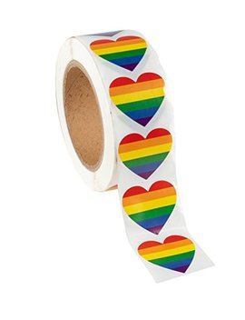 gay-pride-stickers---1000-count-love-rainbow-stickers-roll-in-heart-shaped,-pride-flag-labels-for-gifts,-crafts,-envelope-sealing,-15-x-17-inches by juvale