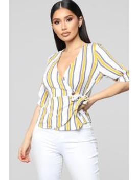 Say That You Love Me Top   Mustard/Combo by Fashion Nova
