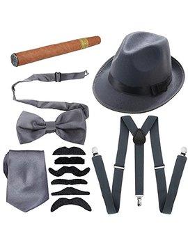 1920s Mens Accessories Hard Felt Panama Hat, Y Back Suspenders & Pre Tied Bow Tie, Tie,Toy Cigar & Fake Mustache by Ka Kaxi