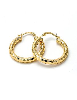 Yellow Gold Tone Ladies Circle Hollow Design And Diamond Cut Design Medium Hoop Earrings (30mm X 4mm) by Mia's Collection