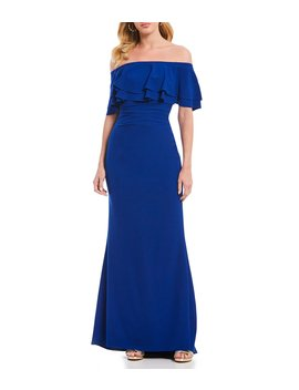 Off The Shoulder Ruffle Sheath Gown by Vince Camuto