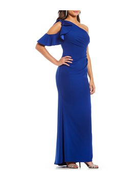 One Cold Shoulder Ruffle Gown by Carmen Marc Valvo