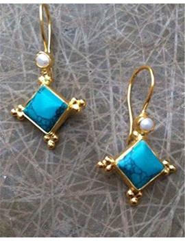 Anna Jewelry Prom 18 K Gold Filled Turquoise Women Jewelry Ear Hoop Dangle Drop Earrings Gift by Anna Jewelry Shop