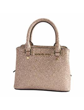 Michael Kors Rose Gold Glitter Leather Micro Mini Savannah Satchel Bag Wallet by Michael Michael Kors