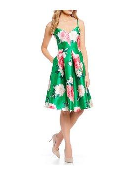 Floral Print V Neck Midi Dress by Eliza J
