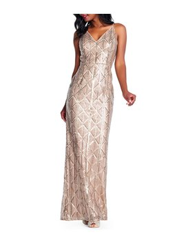 V Neck Geometric Pattern Metallic Sequin Sheath Gown by Adrianna Papell
