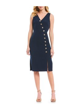 Crepe Sleeveless Button Front Side Slit Sheath Midi Dress by Vince Camuto