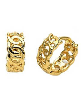 Yellow Gold Tone Ladies Round Infinite Design And Polished Finish Huggie Hoop Earrings (12mm X 1.6mm) by Mia's Collection