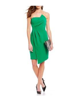 Strapless Faux Wrap Asymmetrical Hem Dress by Vince Camuto