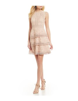 Tiered Lace A Line Sleeveless Tiered Dress by Eliza J