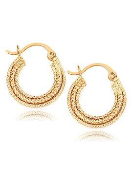 Shine Jewelry Women's 18 K Plain Gold Filled Patterened Hoop Huggies Sleeper Vintage Earrings E90 by Shine Jewelry