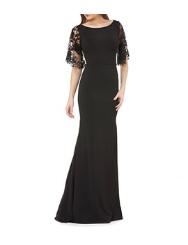 Illusion Lace Sleeve Boat Neck Crepe Sheath Gown by Carmen Marc Valvo