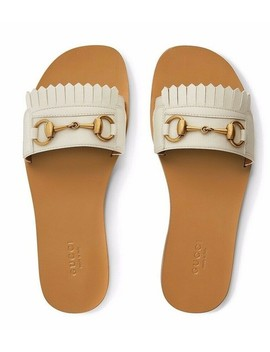 White Horsebit Varadero Gold Fringed Slide Mule Slipper Flat Sandals by Gucci
