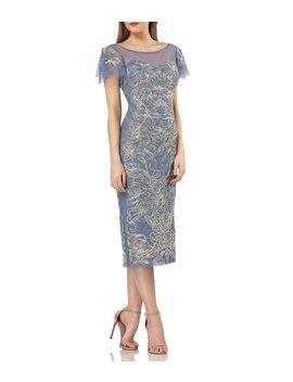 Metallic Soutache Sheath Midi Dress by Js Collections