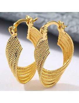 Suchadaluckyshop 18 K Yellow Gold Filled Wedding Bridal Ear Stud Hoop Dangle Earring Women Jewelry by Suchadaluckyshop