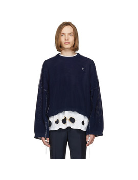Blue Cropped Sweater by Raf Simons