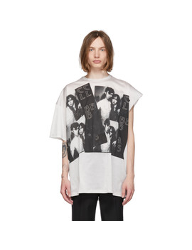 Grey Displaced Sleeve T Shirt by Raf Simons
