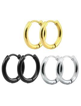 316 L Surgical Stainless Steel Hoop Earrings Mens Womens Small Huggie Hoop Earrings(3 Pairs) by Likimar