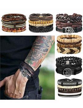 Lolias 24 Pcs Woven Leather Bracelet For Men Women Cool Leather Wrist Cuff Bracelets Adjustable by Lolias