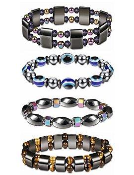 Thunaraz 4 Pcs Hematite Bracelet For Men Women Reiki Healing Bangle Bracelet Energy Magnetic Tiger Eye Therapy Bracelets by Thunaraz