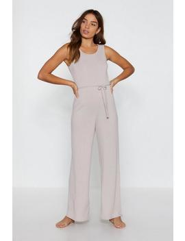 That Tie Of Day Ribbed Wide Leg Lounge Jumpsuit by Nasty Gal
