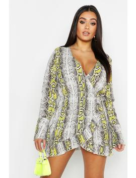 Plus Snake Ruffle Wrap Dress by Boohoo