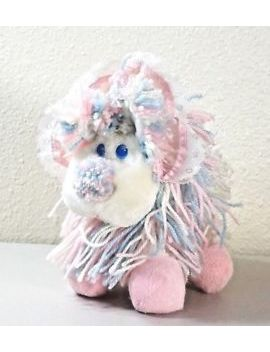 "Vintage 1986 Kenner Pink Blue W/Bonnet Fluppy Dogs Yarn Puppy Plush 8"" by Kenner"