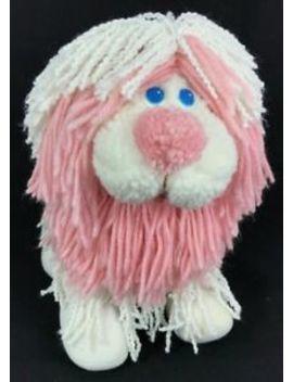 Vintage 1986 Disney Fluppy Dogs White & Pink Plush Poodle Dog Kenner by Kenner