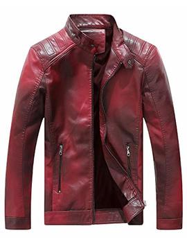 Fairylinks Red Leather Jacket Men Casual Camo by Fairylinks