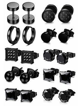 Fibo Steel 5 10 Pairs Stainless Steel Black Stud Earrings For Men Women Huggie Earring Ear Piercing Set Hoop by Fibo Steel