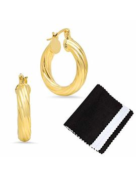 5mm-gold-plated-small-hoop-twist-design-diamond-cut-finish-earrings,-size-24mm by the-bling+factory