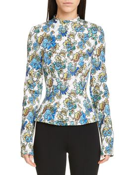 Damask Monogram Print Scuba Top by Stella Mccartney