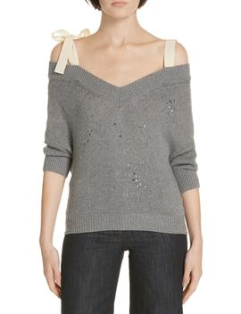 Studded Bow Shoulder Sweater by Red Valentino
