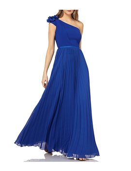 One Shoulder Chiffon Empire Waist Pleated Gown by Kay Unger