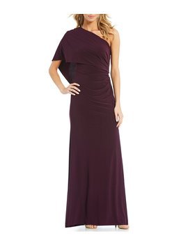 One Shoulder Jersey Gown by Adrianna Papell
