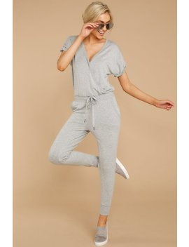 The Wrap Front Jumpsuit In Heather Grey (Backorder 3/30) by Z Supply