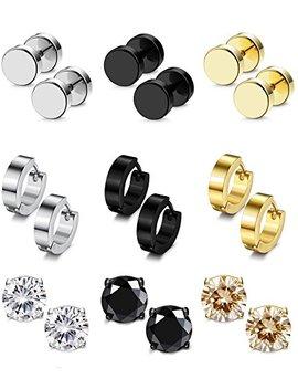 Besteel 9 Pairs Stainless Steel Cz Stud Earrings Hoop Earrings Gauge Earrings Set For Men Women Piercing Earrings by Besteel