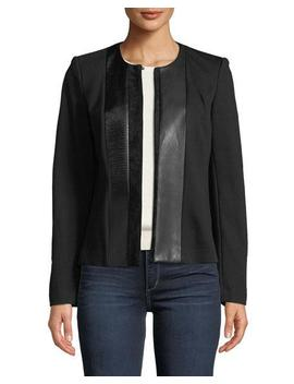 Faux Suede Panel Shirt Jacket by Iconic American Designer