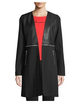 Zip Detail Faux Leather Duster Jacket by P. Luca