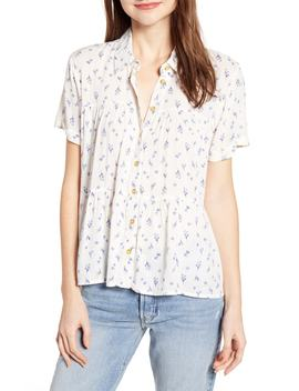 Ruffle Hem Floral Print Top by One Clothing
