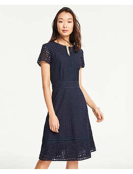 Mixed Eyelet Flare Dress by Ann Taylor