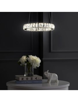 """Reese 15.7"""" Adjustable Integrated Led Metal/Crystal Chandelier Pendant, Chrome/Clear By Jonathan Y by Jonathan Y"""
